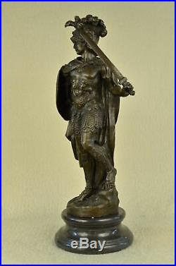 100% Solid Bronze Statue Roman Soldier Warrior Sculpture Hand Made Figurine