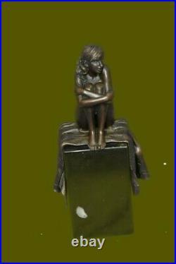 100% Solid Original Bronze Nude Lady Sitting Bronze Sculpture Hand Made Statue
