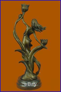 16 European Made Folk Excellent Brown Bronze Lotus Flower Candleholder Statue