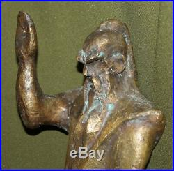 1996 Hand made heavy bronze artwork sculpture warrior with sword