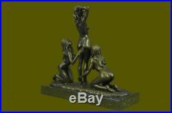 3 Sexy Naked Woman Bonze Goddesses Sculpture Hot Cast Hand Made Statue