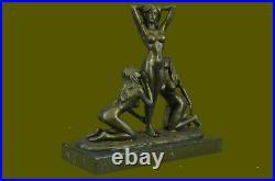 3 Sexy Naked Woman Bonze Goddesses Sculpture Hot Cast Hand Made Statue Hot Cast