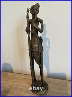 African Tribal Art Hand Made Bronze Statue Benin / Ashanti Maybe