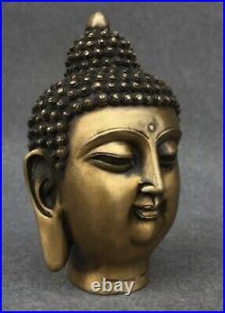 Antique China Bronze Hand Made Shakya Muni Buddha Head