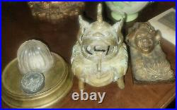 Antique Chinese Solid Bronze Hand Made Foo Dog Ink Well Incense Burner
