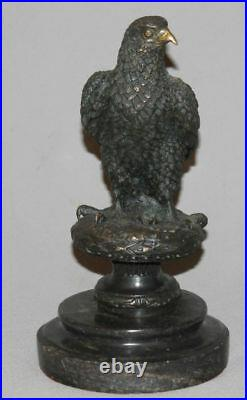 Antique European Hand Made Bronze Eagle Statuette With Black Marble Base