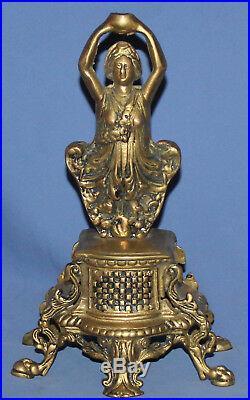 Antique Hand Made Bronze Woman Pedestal Statue