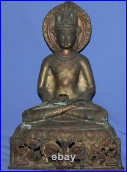 Antique Hand Made Ornate Bronze Brass Buddha Statue