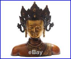 Antique Old Chinese Hand Made Bronze Buddha Tara Bust Statue Thai Room Décor 11