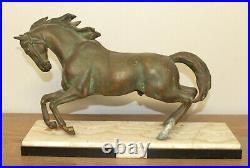 Antique hand made bronze horse statuette with marble base