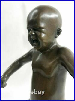 Art Deco Hand Made Baby crying Bronze sculpture by Lost wax Method Statue Figure