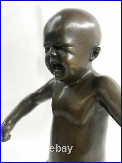 Art Deco Hand Made Baby crying Bronze sculpture by Lost wax Method Statue GIFT