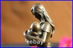 Art Deco Hand Made Mother and Newborn Baby Bronze Sculpture European Made Statue