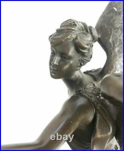 Art Deco Hand Made Nike Female Victory Angel Museum Quality Bronze Statue Figure
