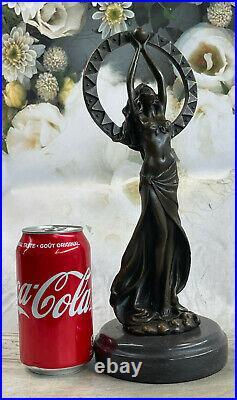 Art Deco Hand Made Semi Nude Female Elegant Bronze Sculpture Statue Deal