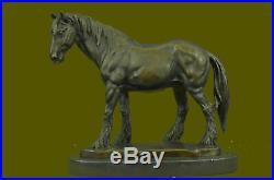 Art Deco Running Horse Hand Made Marble Base Sculpture Statue Bronze Deco BB