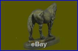 Art Deco Sculpture Running Horse Bronze Statue Hand Made Marble Base Sale Decor