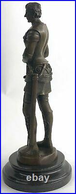 BRONZE KNIGHT STATUE WithSWORD HAND MADE SCULPTURE MARBLE BASE FIGURINE FIGURE SAL