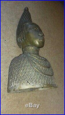 Beautiful Rare Antique Africa African Bronze Benin Hand Made Head Statue