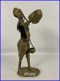 Big 12 AFRICAN Benin Bronze Hand Made TRIBAL Statue Art Water Gift Sharing