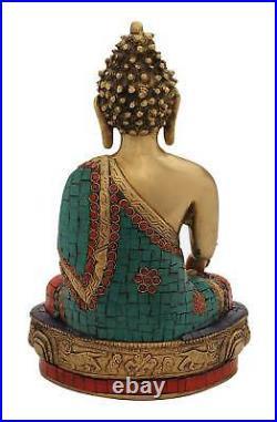 Bronze Antique Hand Made Buddha Brass Statue Turquoise Tibet Nepal Décor 12
