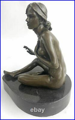Bronze Art Deco Style Figural Nude Woman Dancer Hand Made Statue Sculpture Deal