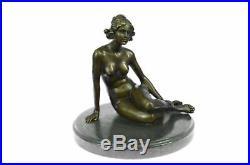 Bronze Art Deco Style Figural Nude Woman Dancer Hand Made Statue Sculpture Sale