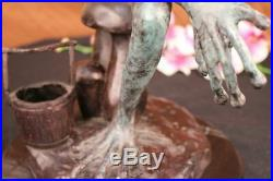 Bronze Brass Figurine Statuette European Made Frog, Toad Numbered Statue Figure