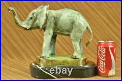 Bronze Bull Elephant Figurine Sculpture Statue Art Signed Hand Made Figurine
