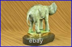 Bronze Bull Elephant Figurine Sculpture Statue Signed Hand Made Artwork Hot Cast