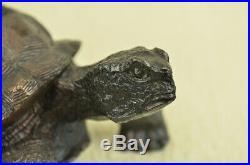 Bronze Fengshui Longevity Fu Dragon Turtle Tortoise Statue Hand Made Figurine