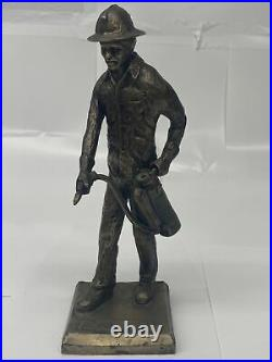 Bronze Firefighter Statue, By Wally Shoop Early 90s, Made As Award For Ansul Co