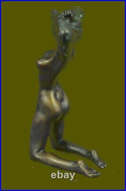 Bronze Hot Cast Nude Girl Dancer Sculpture Statue Figure Realism Deco Hand Made