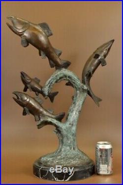 Bronze Jumping Trout Salmon Fish River Statue Figurine Sculpture Hand Made Decor