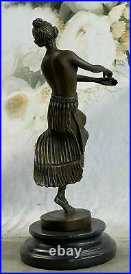 Bronze Sculpture Art Deco Semi Nude Dancer by Eichler Hand Made Statue Figurine