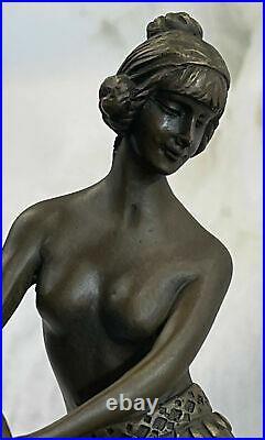 Bronze Sculpture Art Deco Semi Nude Dancer by Eichler Hand Made Statue Hot Cast