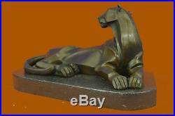 Bronze Sculpture Cougar Lion Abstract Modern Art by H. Moore Hand Made Statue