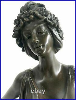 Bronze Sculpture Figure Lady Bust Patina Art Nouveau Victorian Statue Hand Made