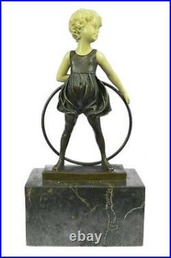 Bronze Sculpture Hand Made Art Statue Children Girl Child Holding Hula Hoop Gift