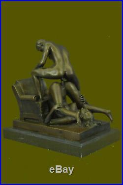 Bronze Sculpture Hand Made Couple Doing PILEDRIVER SEX POSITION Statue Figurine