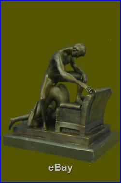Bronze Sculpture Hand Made Couple Doing PILEDRIVER SEX POSITION Statue Hot Cast