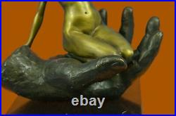 Bronze Sculpture, Hand Made Statue Abstract Signed Juno Cubism Nude Girl Abstract