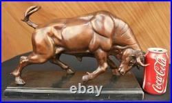 Bronze Sculpture, Hand Made Statue Animal Charging Spanish Bull Stock Market Art