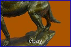 Bronze Sculpture, Hand Made Statue Animal Large Signed Barye Wolf Figurine Gift