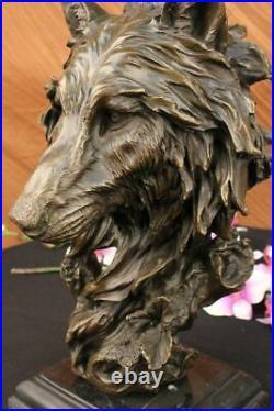 Bronze Sculpture, Hand Made Statue Animal Large Signed Lopez Wolf Art Deco Decor