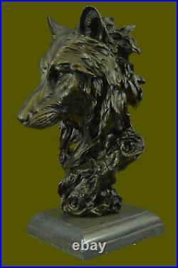 Bronze Sculpture, Hand Made Statue Animal Large Signed Lopez Wolf Art Deco Figure