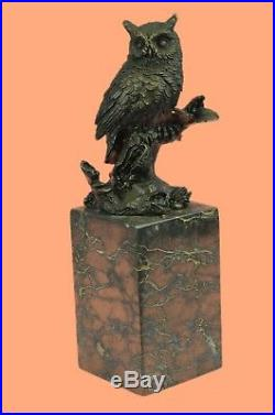 Bronze Sculpture, Hand Made Statue Animal Owl Pure Figure On Marble Base Decor