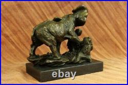 Bronze Sculpture Hand Made Statue Animal Wildlife African Elephants Elephant Art