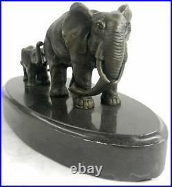 Bronze Sculpture Hand Made Statue Animal Wildlife African Elephants Elephant NR