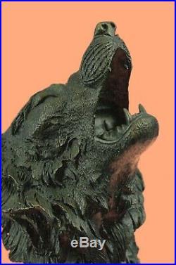 Bronze Sculpture, Hand Made Statue Animal Wolf Head Bust Wild Life Garden Decor